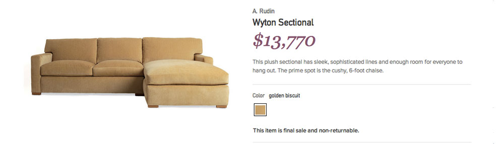Great deal or Garage sale: Gilt.com Overpriced Couch