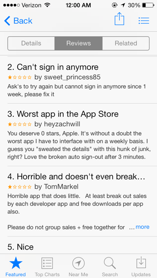 Apple Makes Bad Things: iOS iTunes Connect