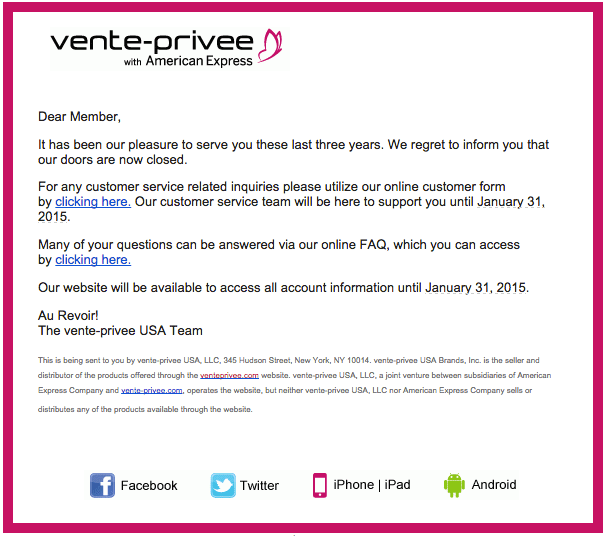 Vente-Privee with American Express has closed it's doors