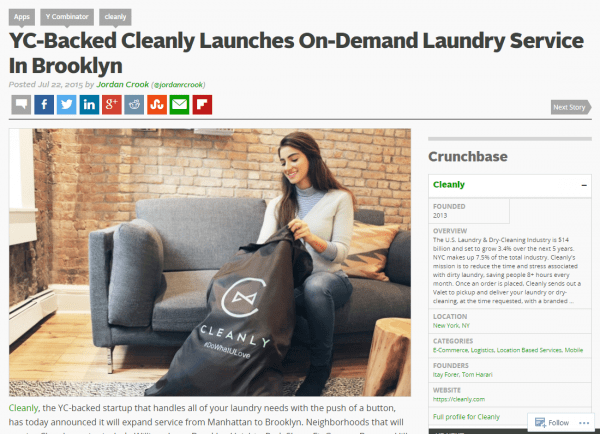 the best part about this is that the marketing team at cleanly didnt even test the link on techcrunchs website to see if it worked before spending the