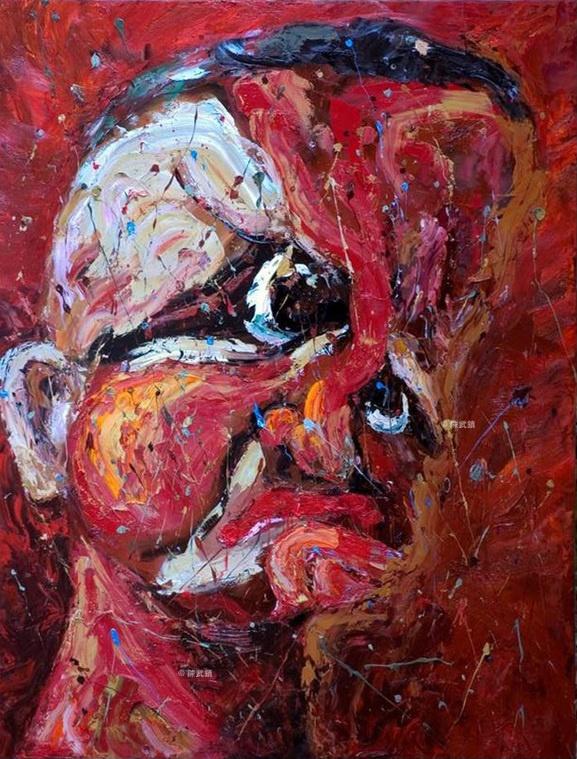 白色恐怖受害者、畫家陳武鎮畫作〈虛擬巨惡之十六〉:「雷震的刑期不得少於十年。--蔣介石--」。