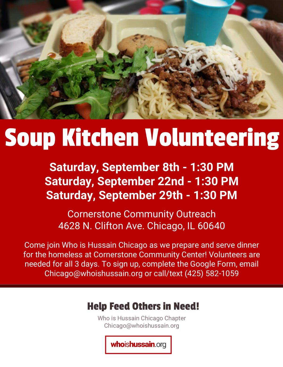 Come Join The Who Is Hussain Chicago Chapter As We Send Twenty Volunteers  To Cornerstone Community Outreach To Assist In Preparing And Serving Food  To ...