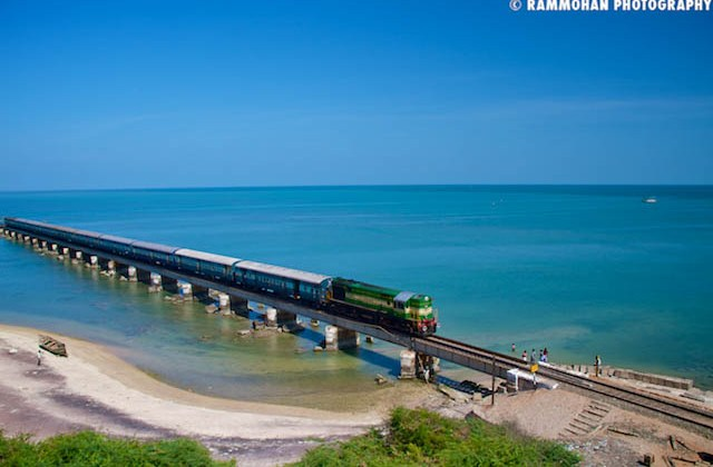 Train Passes the Railways Bridge at Rameswaram.