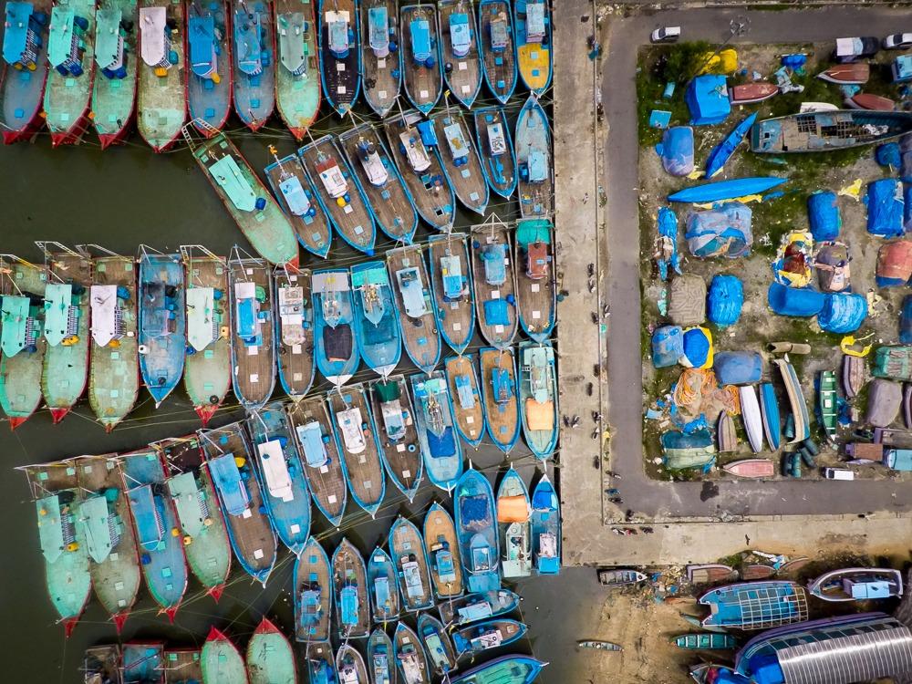 Aerial Shot of Malpe Harbor, Udupi, Karnataka, India
