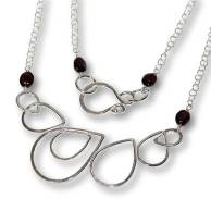 Windsong Jewellery Design Argentium Silver Raindrop Wire-Wrapped-Garnet Necklace