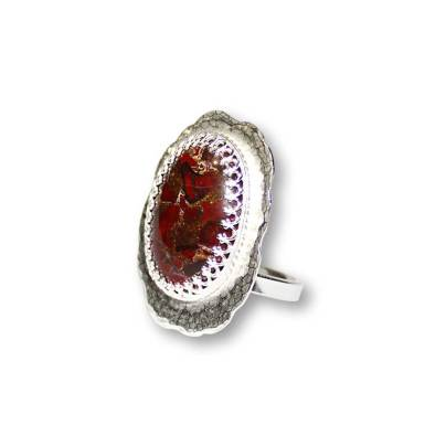 Windsong Jewellery Design Sterling Silver Bezel Set Brecchiated Jasper Statement Ring