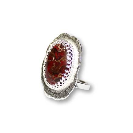 Windsong Jewellery Design Sterling Silver Bezel Set Brecchiated Jasper Statement Ring
