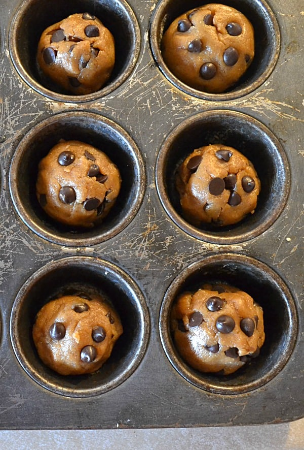 Peanut Butter Chocolate Chip Cookie Cups   wholeandheavenlyoven.com