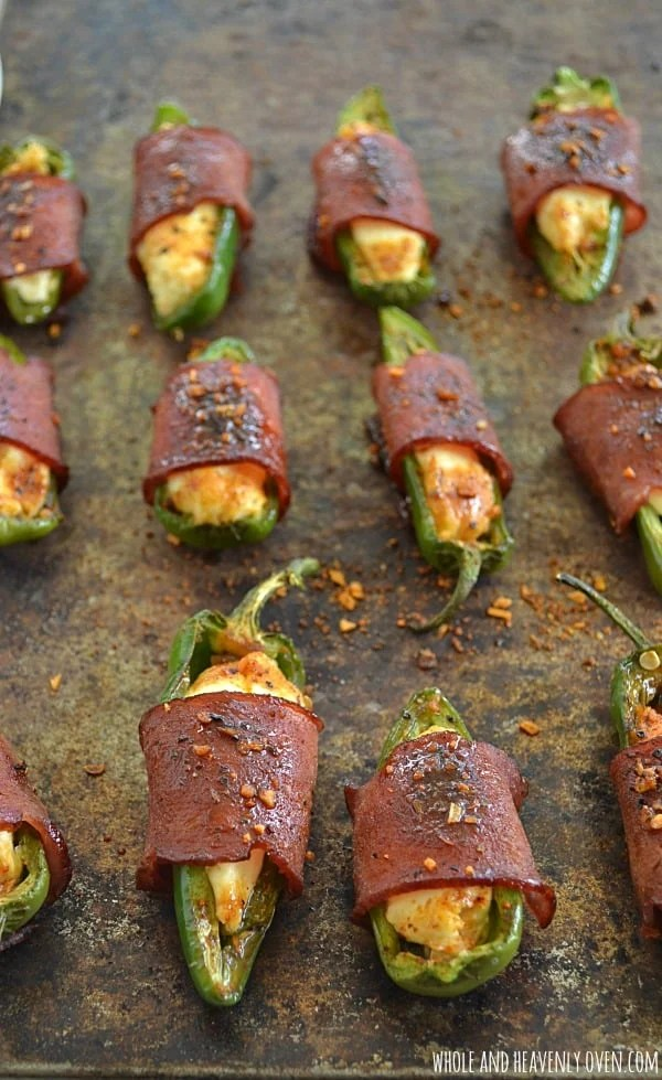Sweet 'n' Spicy Bacon-Wrapped Jalapeno Poppers | wholeandheavenlyoven.com