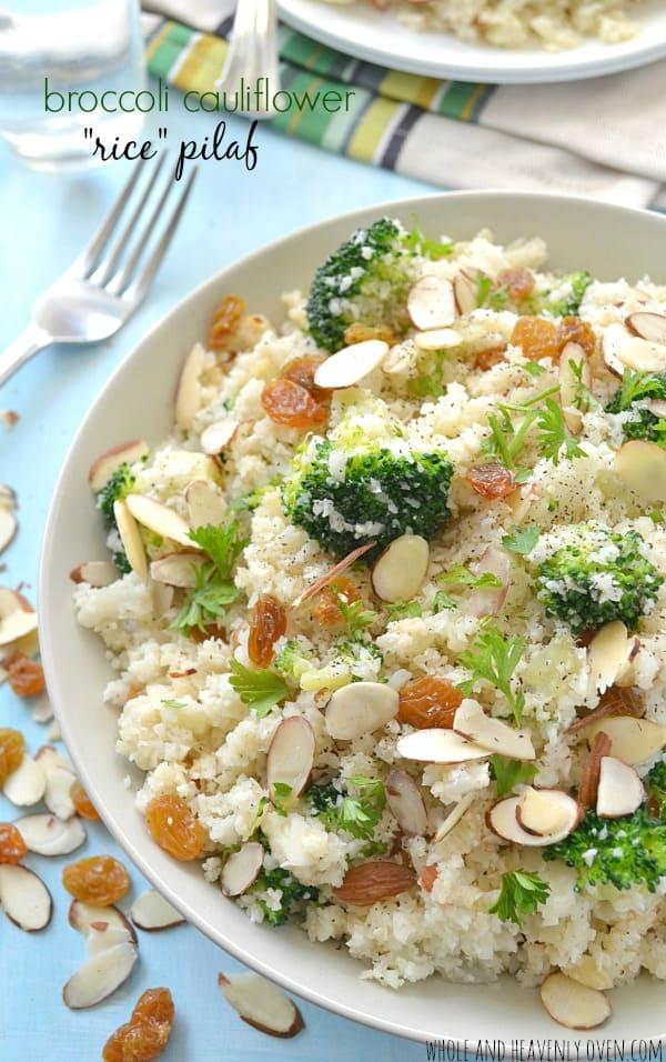 "Broccoli Cauliflower ""Rice"" Pilaf | wholeandheavenlyoven.com"