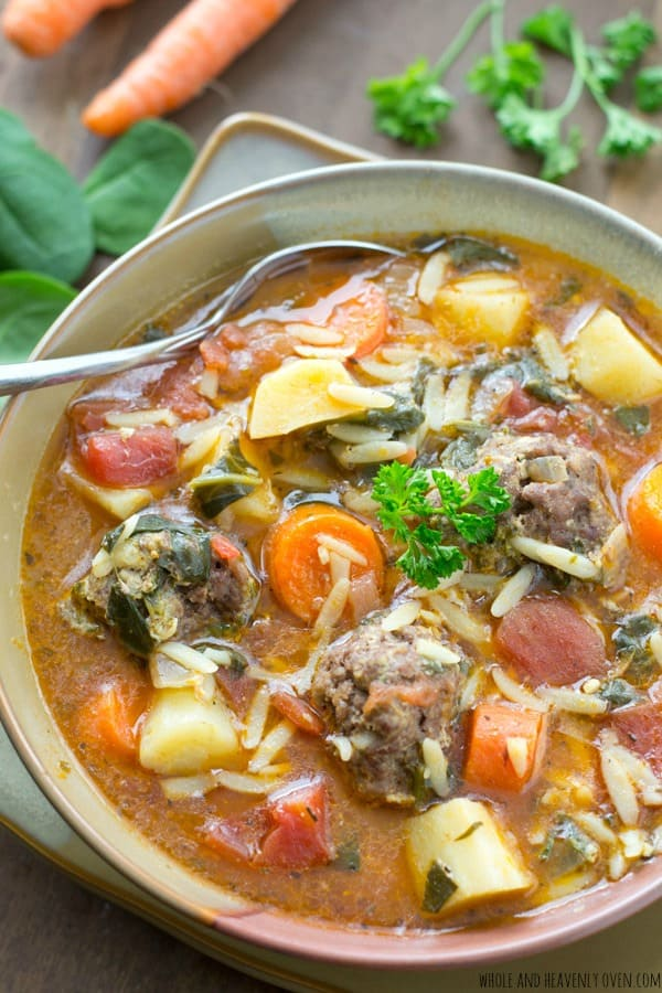 This hearty, Italian-style stew is chock-full of tender veggies, lots of orzo pasta, and the most tender meatballs ever in a rich, flavorful broth. @WholeHeavenly