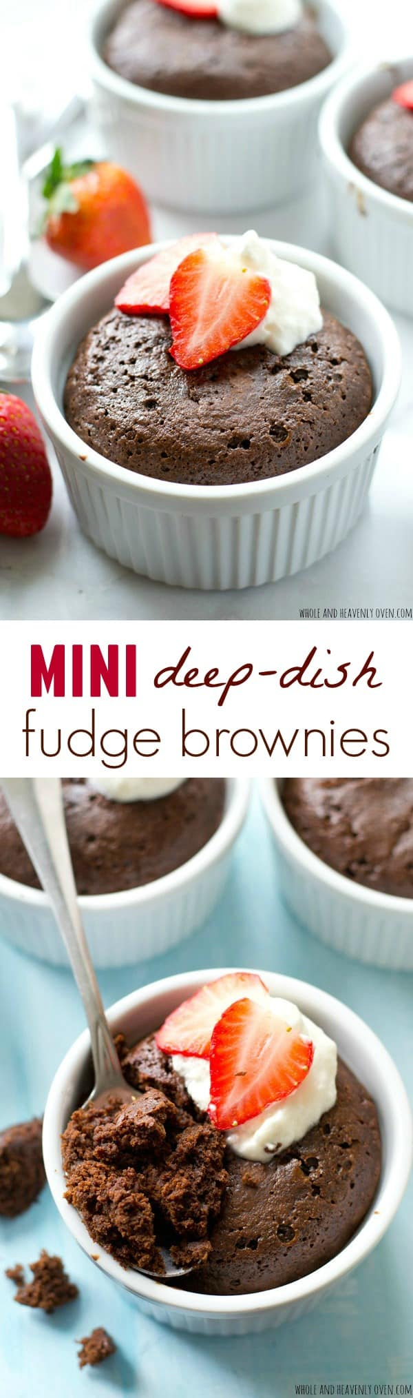 Ultra-fudgy and unbelievably chocolate-y inside, these rich, deep-dish brownies are the perfect dessert for your sweetheart, but they're seriously so good you may not want to share! @WholeHeavenly