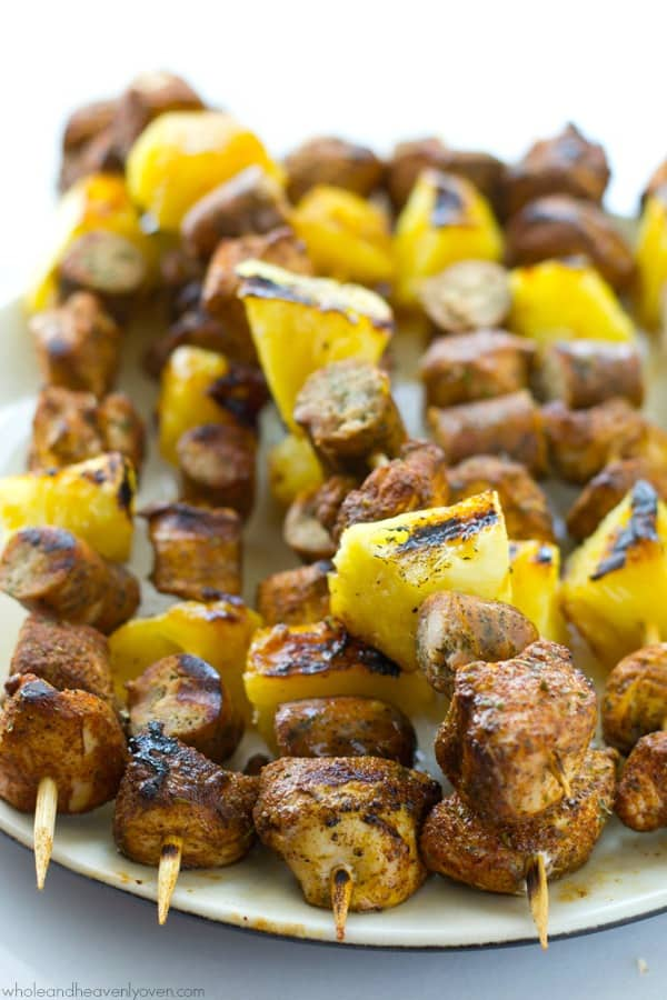 This is one summer kabob recipe that you're gonna want to hold onto forever! The sweet 'n' spicy jerk chicken combined with sausage and sweet pineapple are a match made in heaven.