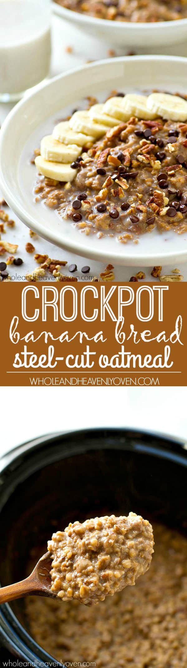 Creamy homemade steel-cut oatmeal that cooks low 'n' slow for hours in the crockpot and loaded with banana bread flavors! The best way to start the day.
