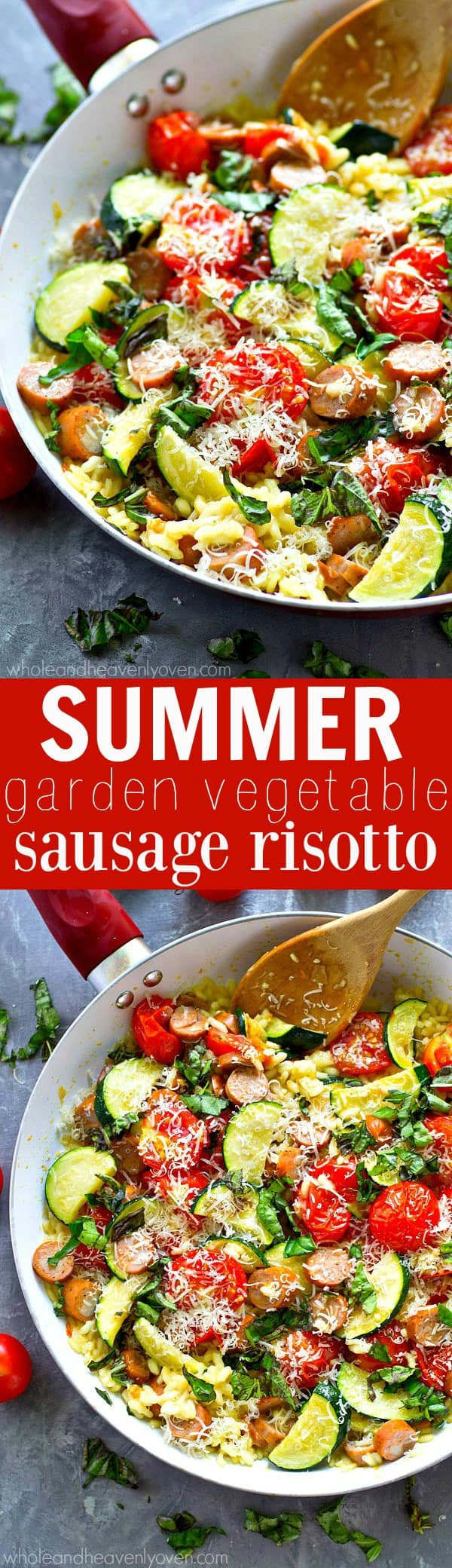 This creamy, comforting risotto is loaded with all the best veggies of summer and absolutely essential for the last days of summer!---Ready in under 30 and made in only one pan!