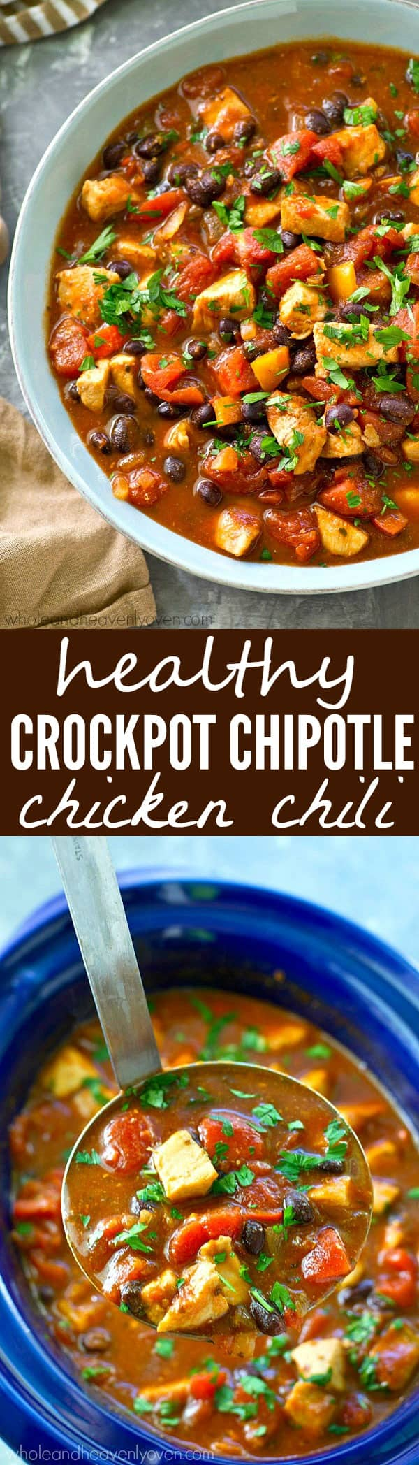 Fill up the crockpot for your next football party with this kickin' chipotle chicken chili! Everything gets dumped in the crockpot for easy prep and you won't BELIEVE all the amazing cozy flavors packed inside.