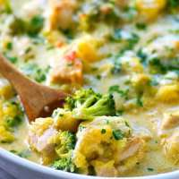 Three-Cheese Chicken Broccoli Spaghetti Squash Bake
