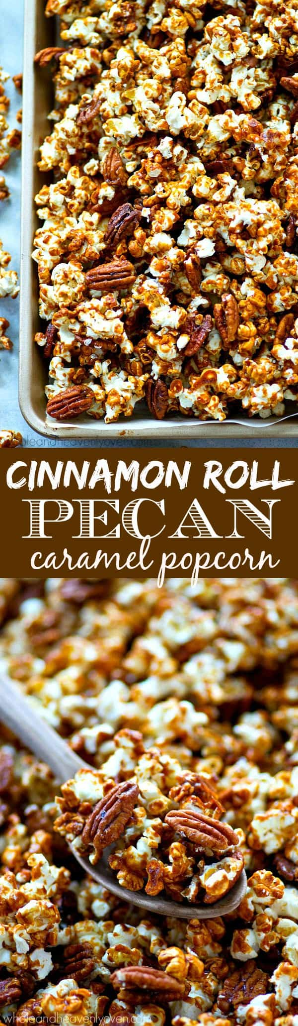 This addicting caramel popcorn is loaded with tons of cinnamon and toasty pecans and makes the absolute best holiday snack! Make a double batch because it's going to disappear that fast.