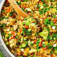 Rainbow Vegetarian Fried Orzo Skillet