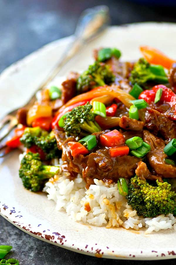 Flavorful Mongolian beef just like you get at the restaurants! This 30-minute beef and veggies skillet is absolutely perfect for a busy weeknight.---just add hot rice and dinner's ready!