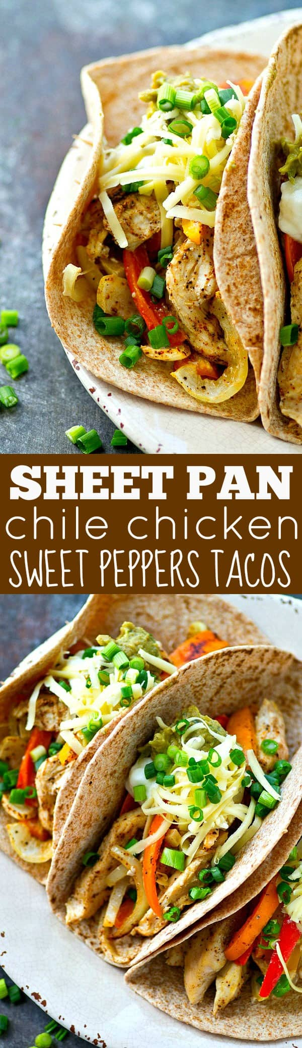 'Kickin chile-rubbed chicken and peppers bake up on one sheet pan to make these ULTIMATELY easy and flavorful chicken sweet peppers tacos! Load 'em up with all your favorite taco toppings.