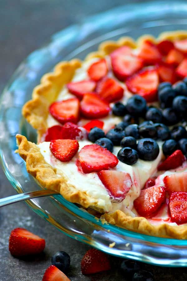 This no-bake mixed berry cheesecake pie is a perfect last-minute 4th of July dessert! It's SO easy to throw together in minutes and is always a major crowd-pleaser!