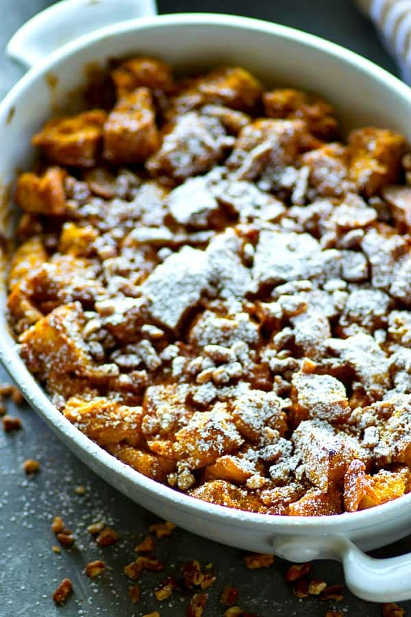 Get your pumpkin spice latte fix in this SUPER easy fall-style bread pudding that comes together in minutes and is so perfect for any brunch!