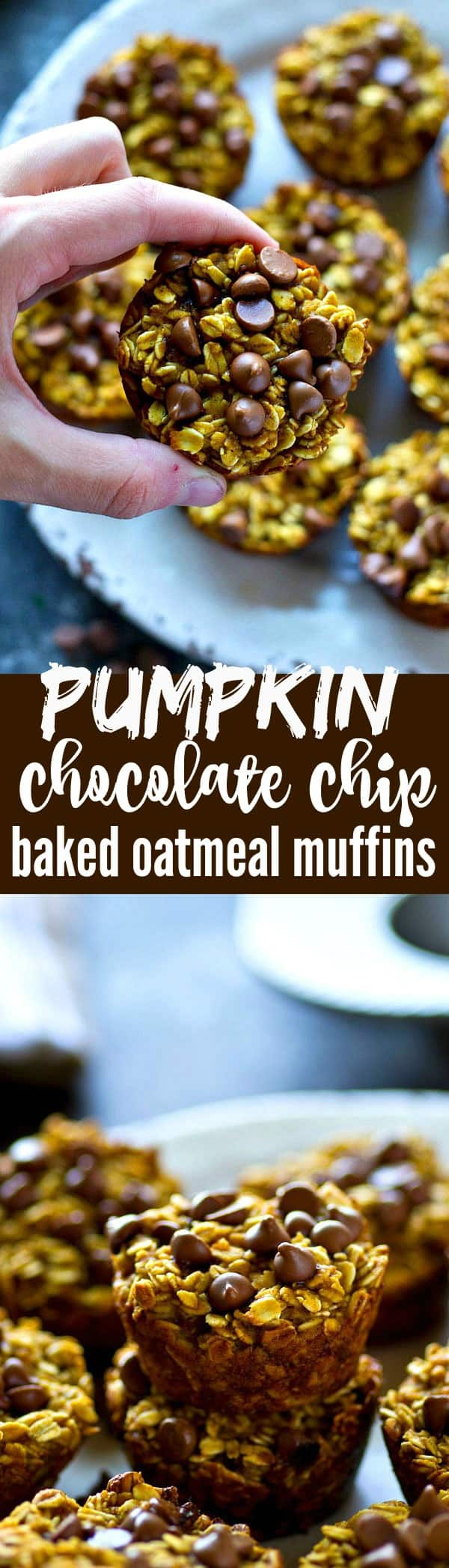 Kick off your weekday mornings the EASIEST and healthiest way with these pumpkin chocolate chip baked oatmeal muffins! Easy to throw together and they freeze beautifully.
