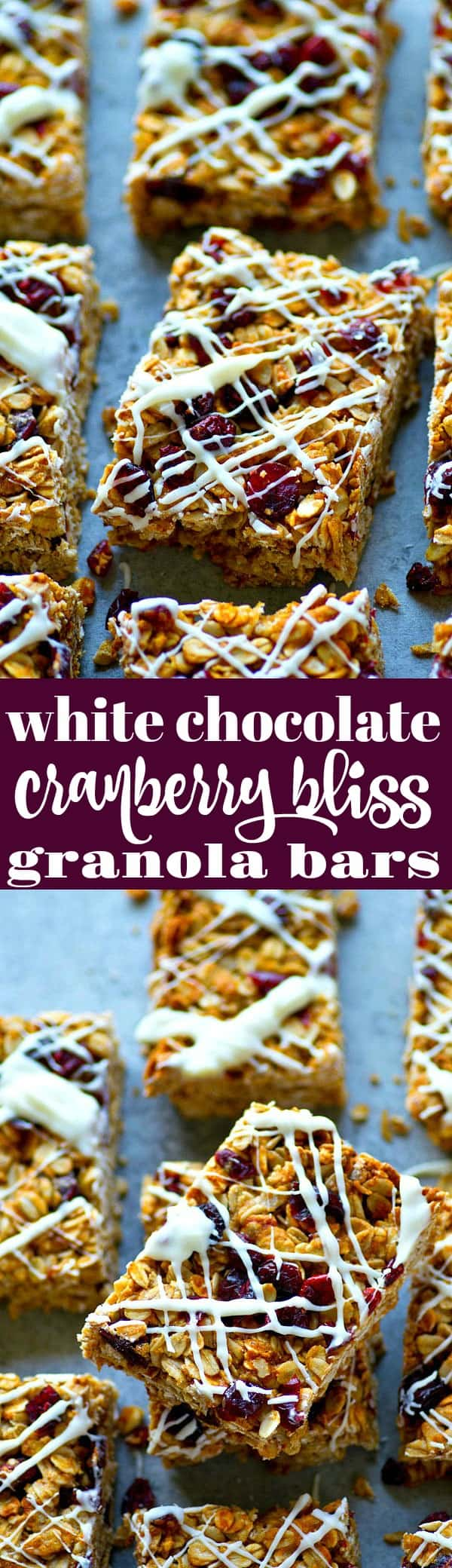 Cranberry bliss bars meet granola bar! These white chocolate cranberry bliss granola bars are so soft, chewy, packed with tangy cranberries, and drizzled with tons of white chocolate!