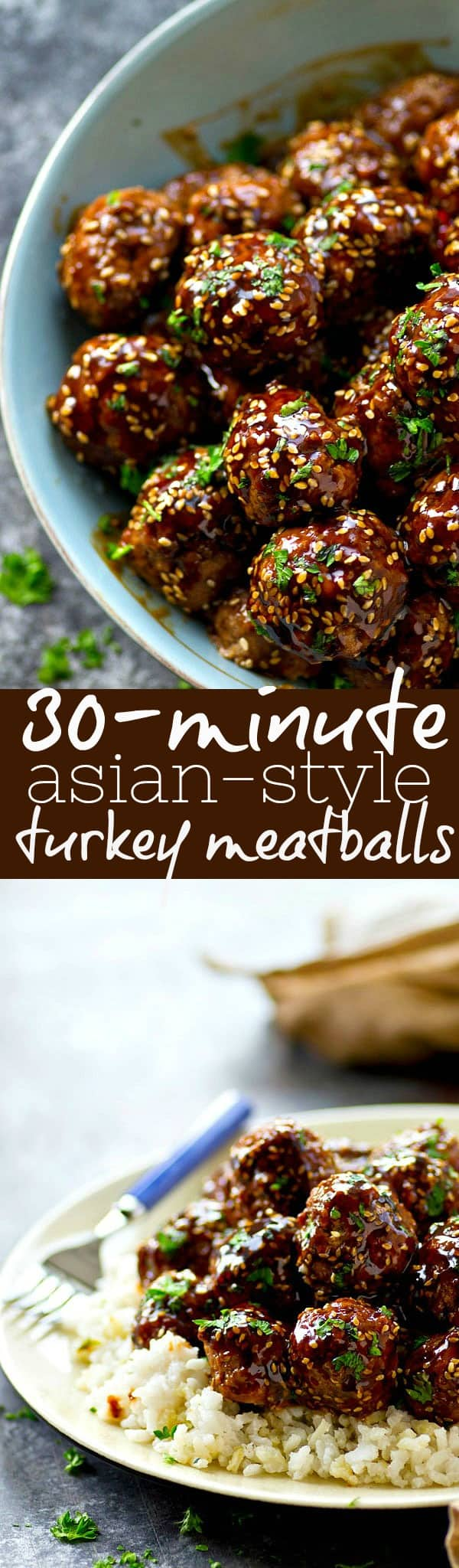 Covered in a flavorful homemade teriyaki sauce and ready in only 30 minutes, these Asian-style turkey meatballs are perfect for a last-minute dinner and so good over pasta or rice!