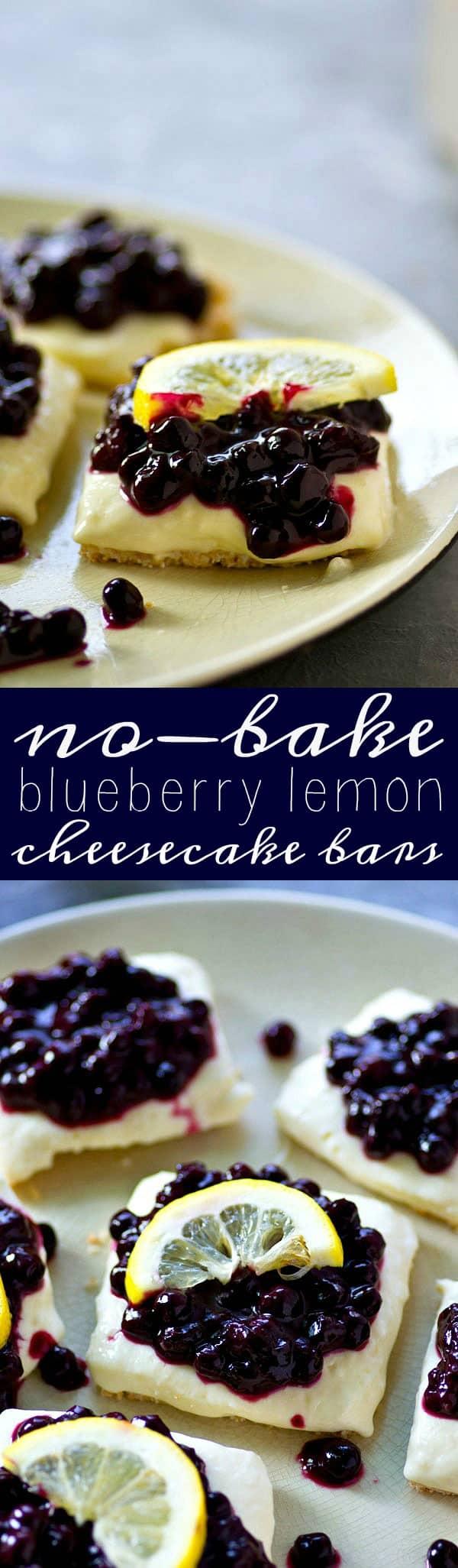 No-Bake Blueberry Lemon Cheesecake Bars