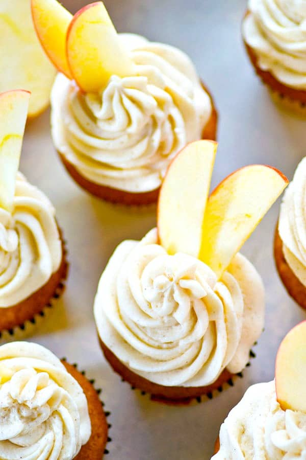 Soft, spiced apple cider cupcakes are the most incredible base for a creamy maple syrup buttercream frosting and it all wraps up into one fall-worthy cupcake!
