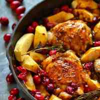 Maple-Glazed Roast Chicken with Apples and Cranberries