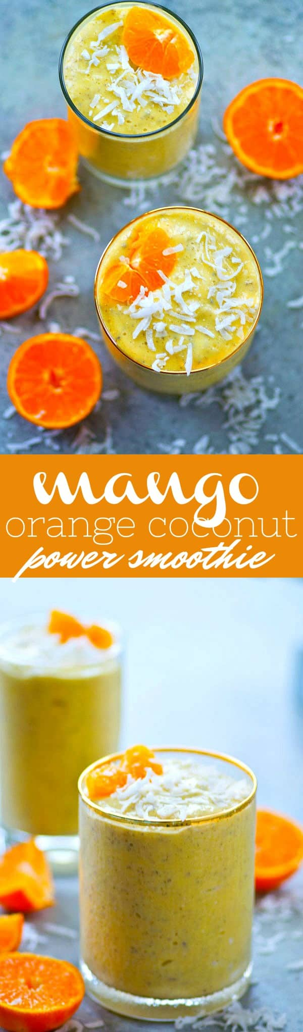 Packed with protein and all the tropical fixins', this mango orange coconut power smoothie is so filling its perfect for an on-the-go breakfast or post-workout snack!