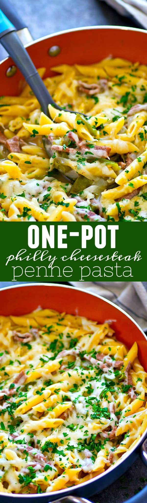 All the things you love about philly cheesesteaks are wrapped into this cozy one-pot philly cheesesteak penne pasta! It'll be on the dinner table in thirty minutes flat!
