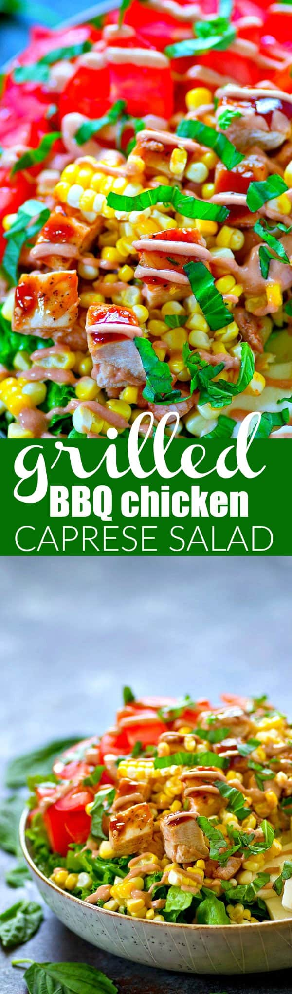 Juicy grilled barbecue chicken, a creamy barbecue dressing, and all the caprese fixins' make for one KILLER grilled BBQ chicken caprese salad you'll want on standby all summer!