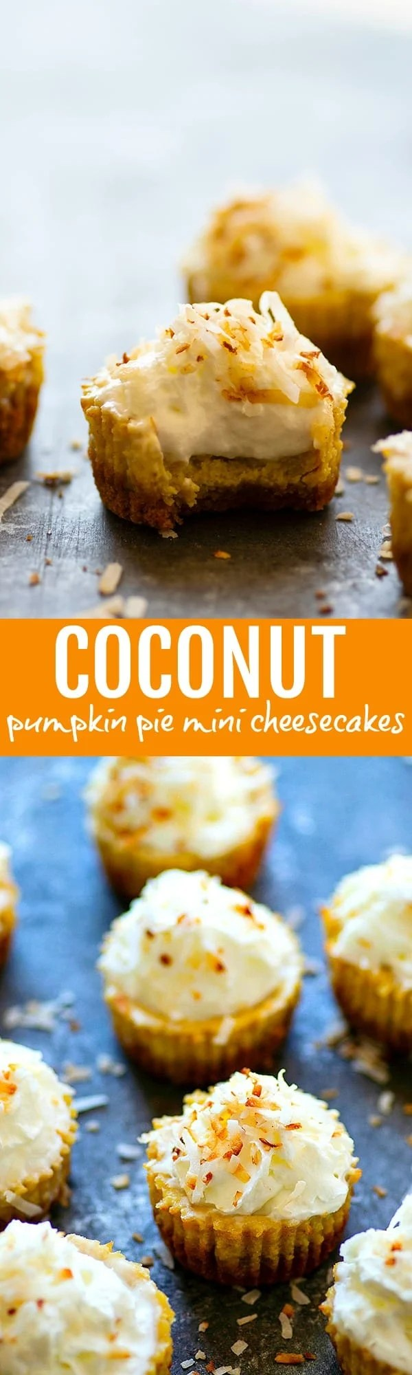 Coconut Pumpkin Pie Mini Cheesecakes - These mini cheesecakes have an incredibly silky pumpkin pie filling with a buttery graham cracker crust and tons of toasted coconut on top.--a perfect handheld Thanksgiving dessert!