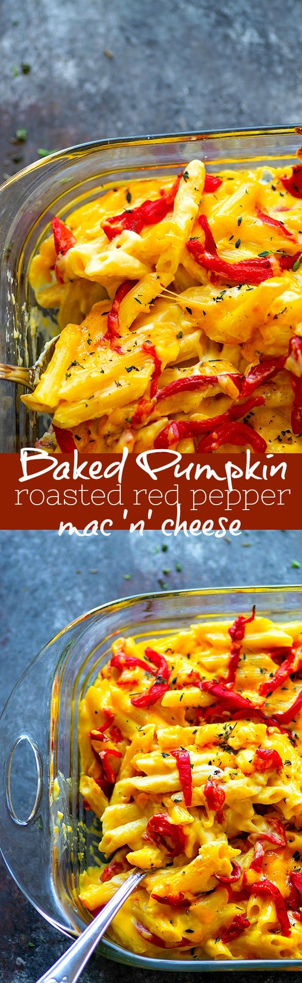 Baked Pumpkin Roasted Red Pepper Mac 'n' Cheese - Flavorful roasted red peppers and creamy pumpkin take this ultimately cheesy baked roasted red pepper mac 'n' cheese to the next level!