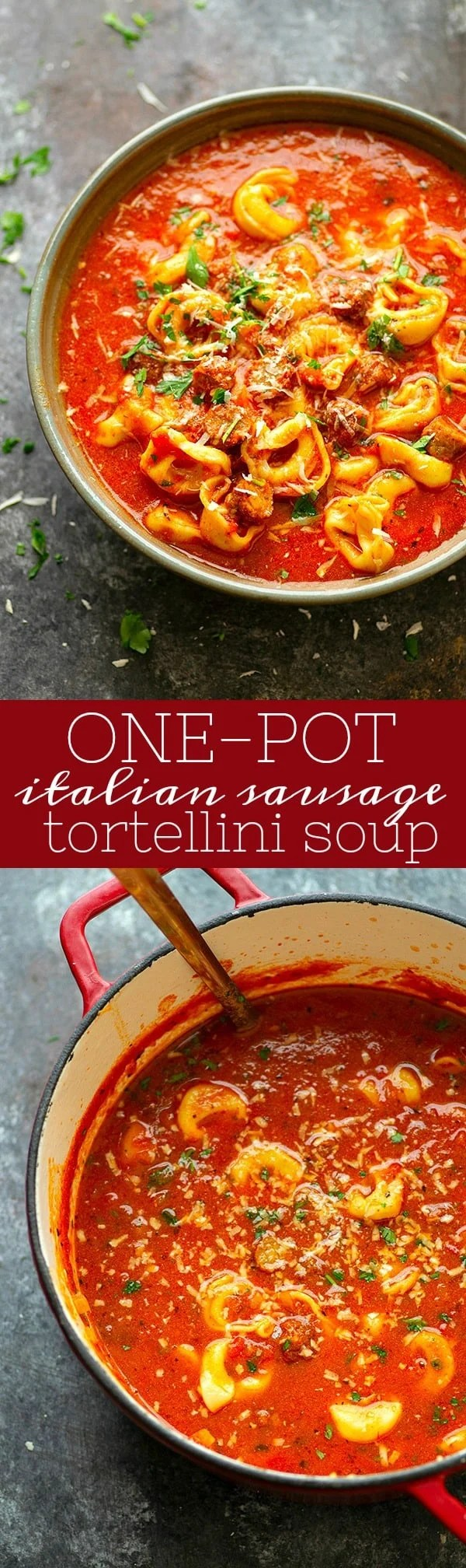 One Pot Italian Sausage Tortellini Soup - Flavorful sausage bits and cheese-filled tortellini join forces to make this ultimately cozy Italian-style sausage tortellini soup.