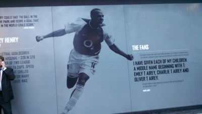 Thierry Henry on the stadium wall