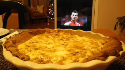 Quiche. Yes, that is a Christmas tree in the background, haters.