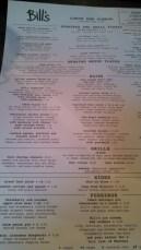 Bill's menu