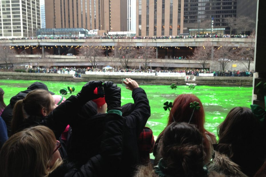 St. Patrick's Day, The Chicago River being dyed green. The shot is of all the people in front of me, the river, then all the people on the other side. There are thousands.