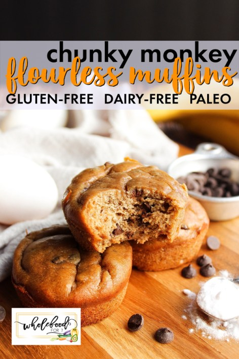 Flourless Chunky Monkey Muffins - gluten-free, dairy-free, paleo, with nut-free option