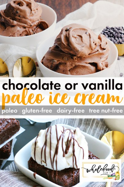 Chocolate or Vanilla Paleo Ice Cream - Gluten-free, dairy-free, tree nut-free. So easy and only 5 ingredients!