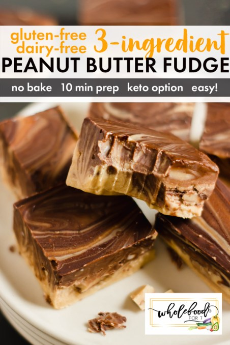 Gluten-free Dairy-free 3-Ingredient Peanut Butter Fudge - Keto option, 10 minutes to make!!