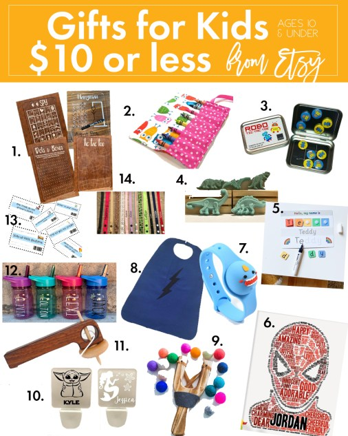 Gift Guide for Kids for $10 or less from Etsy - Support small businesses with these affordable gifts!