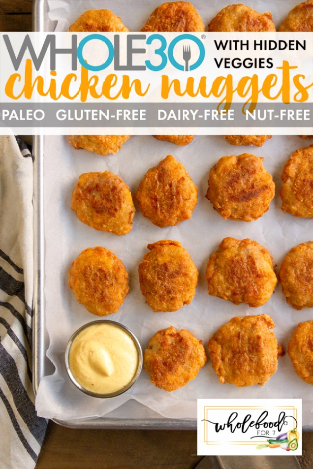 Chicken Nuggets with Hidden Veggies - Whole30, Paleo, Keto, Gluten-free, Dairy-free, nut-free, airfryer option