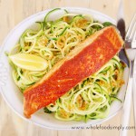salmon and zoodles with thai dressing