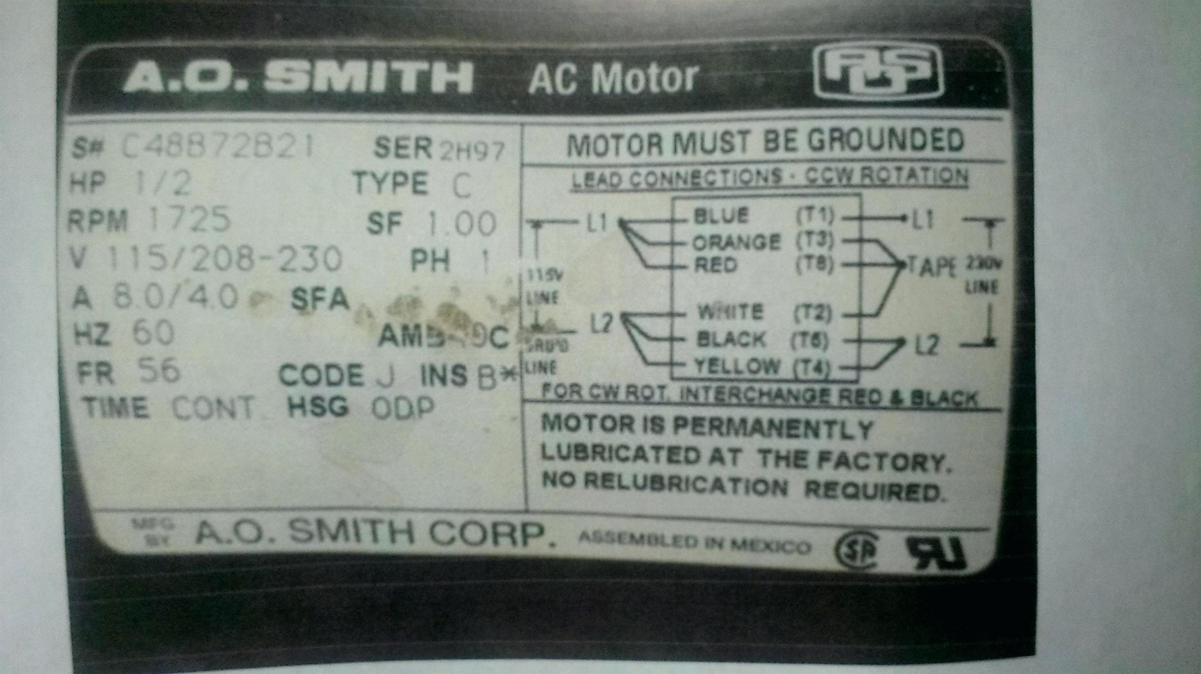 Ao Smith Electric Motor Wiring Diagram Gallery